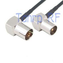 50CM Pigtail coaxial jumper RG174 extension cable 20in TV male plug to TV female both right angle 90 degree  RF adapter