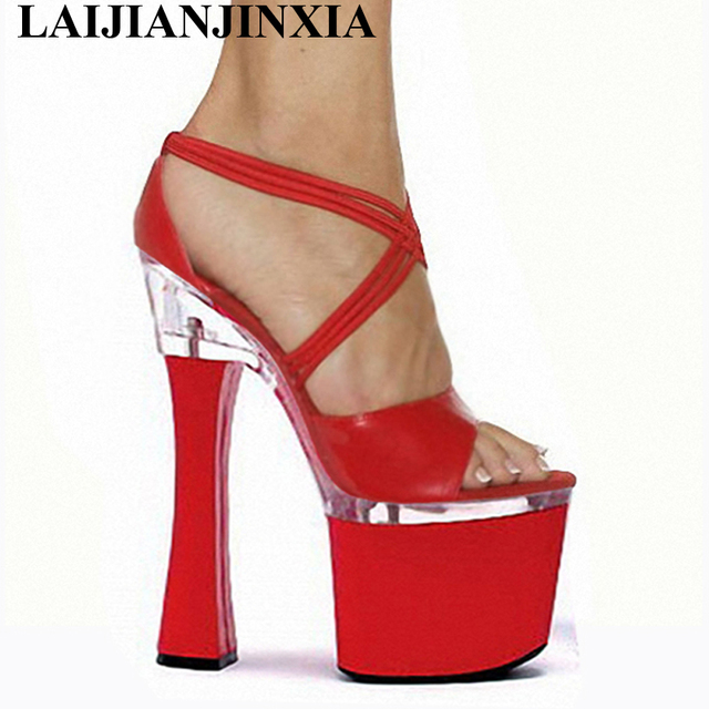 e1c38222c940 LAIJIANJINXIA Professional Customize Bride Comfortable Thick Heel 18cm High  Heel Shoes Sandals Spool Heels 7 Inch