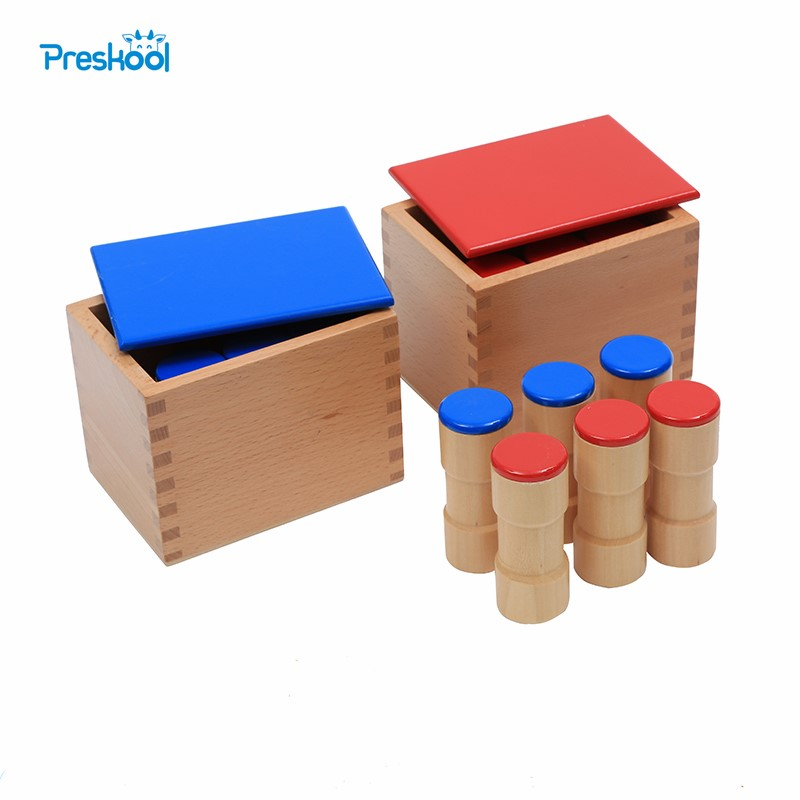 Baby Toy Montessori Sound Boxes for Early Childhood Utdanning Preschool Training Læringsleker 2 esker med 12 trecylindre