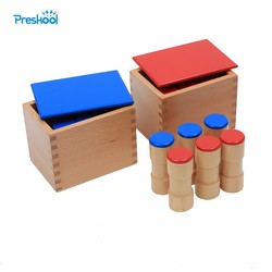 Baby Toy Montessori Sound Boxes for Early Childhood Education Preschool Training Learning Toys 2 Boxes with 12 Wooden Cylinders