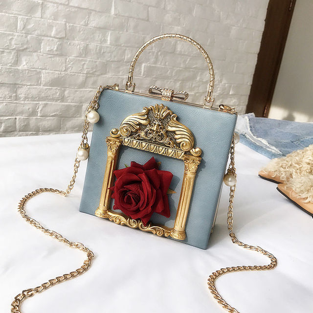 2019 Vintage Embossed Women Handbag Luxury Brand Pearl Chain Box Bag Female Pu Leather Shoulder Bag Diamonds Evening Bags Ladies 2