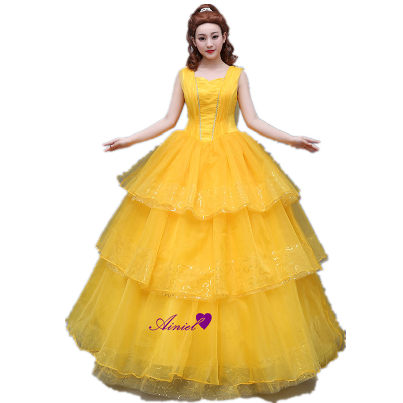 2018 New Movie Beauty and the Beast Cosplay Costume Princess Belle Long Yellow Layered Lace Dress