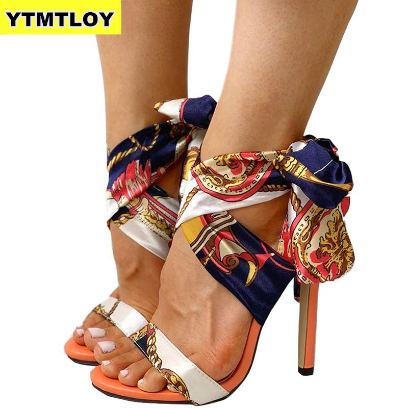 Ribbon Summer Luxury High Heels New Women Pumps Comfort <font><b>Shoes</b></font> Sandals <font><b>Sexy</b></font> Party Female Peep Toe Gladiator Rome Leisure image