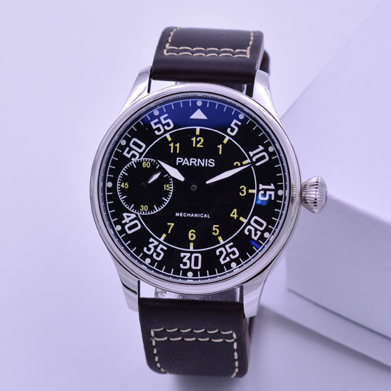 44mm parnis black dial super luminous makrs hand winding 6497 mechanical mens watch цена и фото