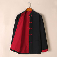 Umorden Pure Cotton Two Sided Traditional Chinese Outfit Tang Suit Long Sleeve Hanfu Top Kung Fu Coat Jacket Uniform for Men