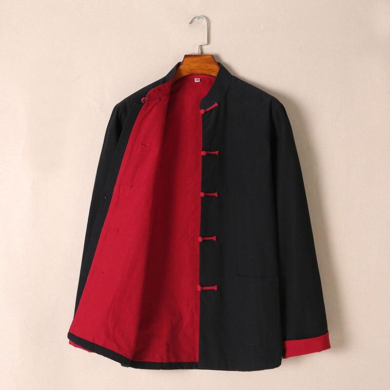 Umorden pur coton deux faces tenue traditionnelle chinoise Tang costume à manches longues Hanfu Top Kung Fu manteau veste uniforme pour hommes