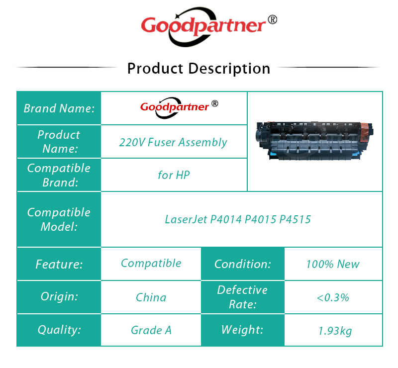 Unité de fusion d'assemblage de fixation de RM1-4579-000 RM1-4579 220 V pour HP LaserJet P4014 P4015 P4515 - 5