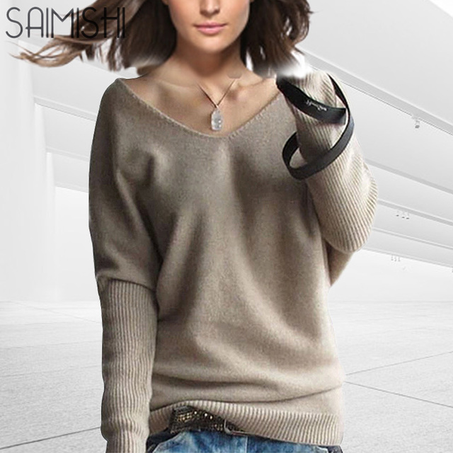 Saimishi Cashmere Sweater Women Winter Sexy V-neck Sweaters Fashion Lady  Loose Batwing Sleeve Pullovers Quality Wool 28e112f82