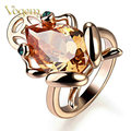 VOGEM Fashion Rings for Women 2017 Gold Frog Ring Pendant 18 K Gold Plated Cute Toad Created Topaz Jewelry Cocktail Ring Gifts