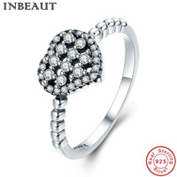 INBEAUT Women Wedding White Sparkling Heart Cubic Zirconia Ring For Girl 925 Sterling Silver Perfect Cut