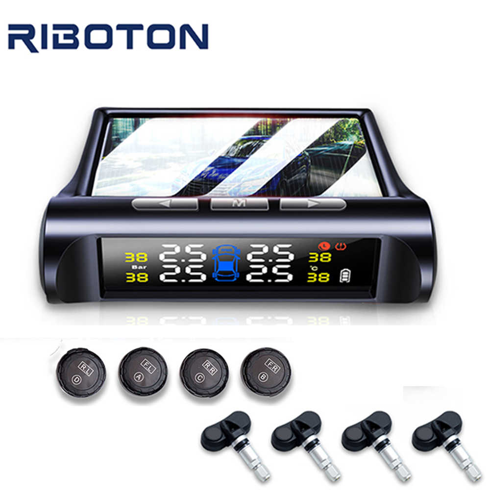 Riboton C240 Smart Auto TPMS Bandenspanningscontrolesysteem Wireless Solar Power Hoge Kwaliteit Auto Alarmsystemen TMPS