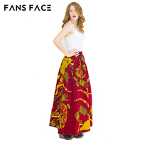 African Print Skirt A Line Pleated Maxi High Waist Skirts Womens 2017 New Arrival Vintage Korean