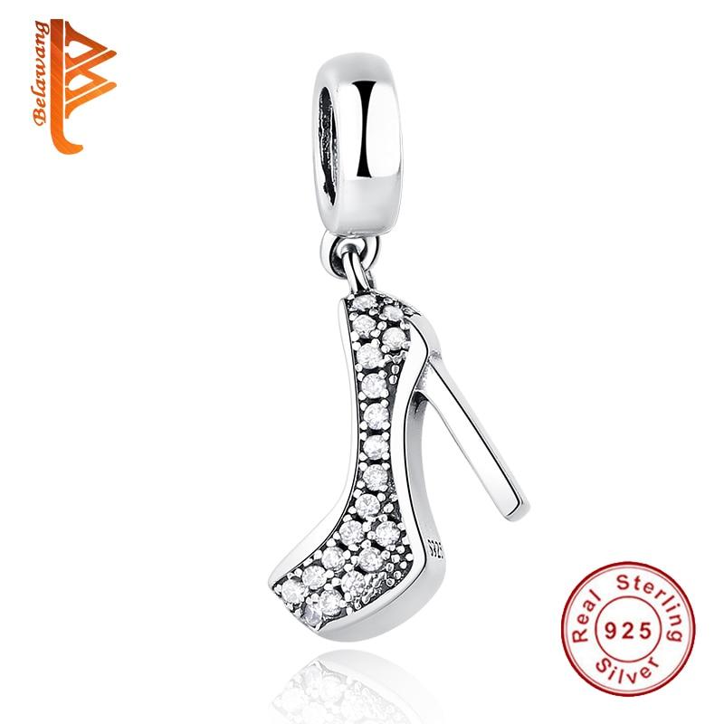 Luxe 925 sterling zilveren hoge hakken schoen hanger bedel Fit - Mode-sieraden