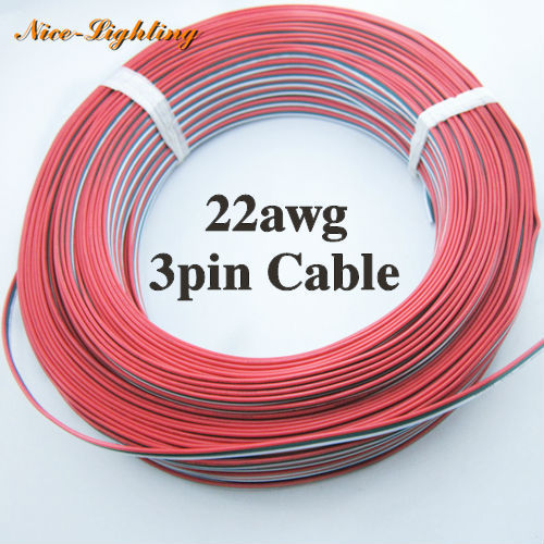 Best Price 100meters/lot <font><b>3pin</b></font> <font><b>22awg</b></font> Tinned Copper Insulated Wire, Red/Green/White Color PVC Cable For Electric Power Connecting image