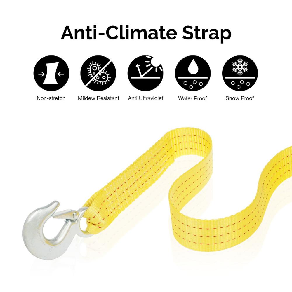"Image 2 - MYSBIKER Heavy Duty Tow Strap with Safety Hooks  2"" x 20'  10,000 LB Capacity  Polyester"