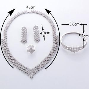 Image 3 - Hadiyana venda quente de luxo feminino nigeriano casamento conjunto noiva moda zircônia cúbico manequim conjuntos jóias frete grátis tz8022