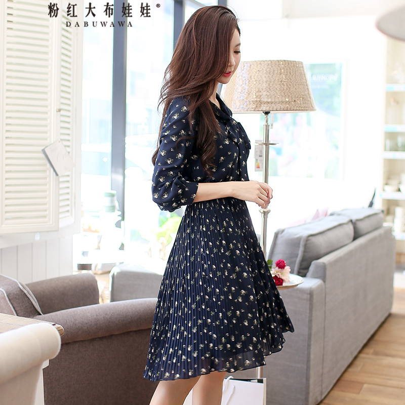 Dabuwawa New Ladies Women s Spring Print Dress V Neck Floral Bow Dresses 3 4 Sleeve