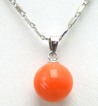SALE AAA Natural Pink Big 10MM Perfect Round Coral Pendant with Stering Silver 925 Chain-nec5335 whole sale and retail Free ship
