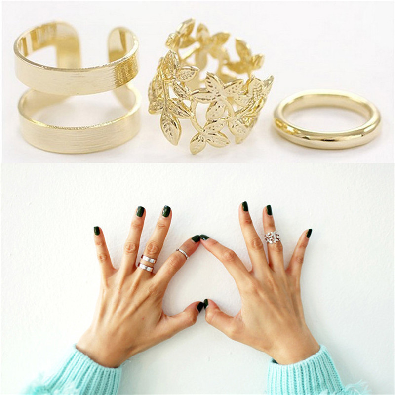 ZN 3pcs Fashion Vintage Punk Style Metal Gold/Silver Plated Leaf Above Knuckle Hollow Out Leave Band Midi FingerJoint Set Ring