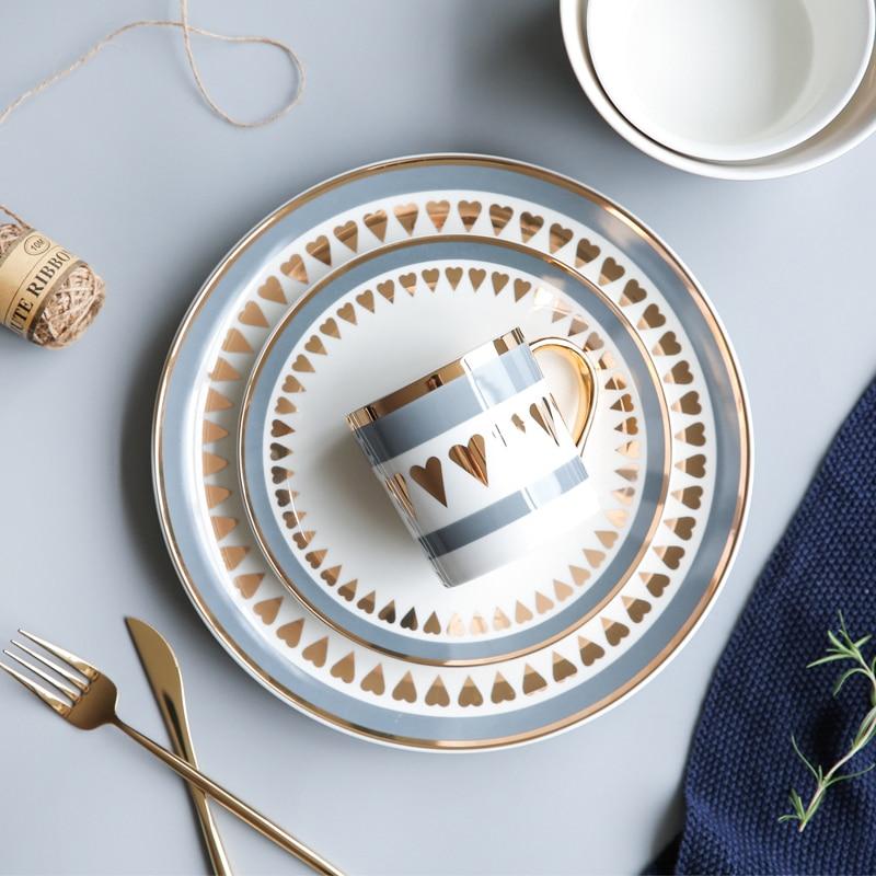 ><font><b>Nordic</b></font> <font><b>Style</b></font> Gold Edge <font><b>Ceramic</b></font> Tableware Dishes & Plates Household Dishes, Rice Bowls, Soup Bowls, Mugs Service Plate