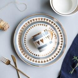 Styl skandynawski Gold Edge ceramiczne zastawy stołowe naczynia i talerze naczynia domowe  miski na ryż  miski do zupy  kubki serwis Plate|Naczynia i talerze|Dom i ogród -