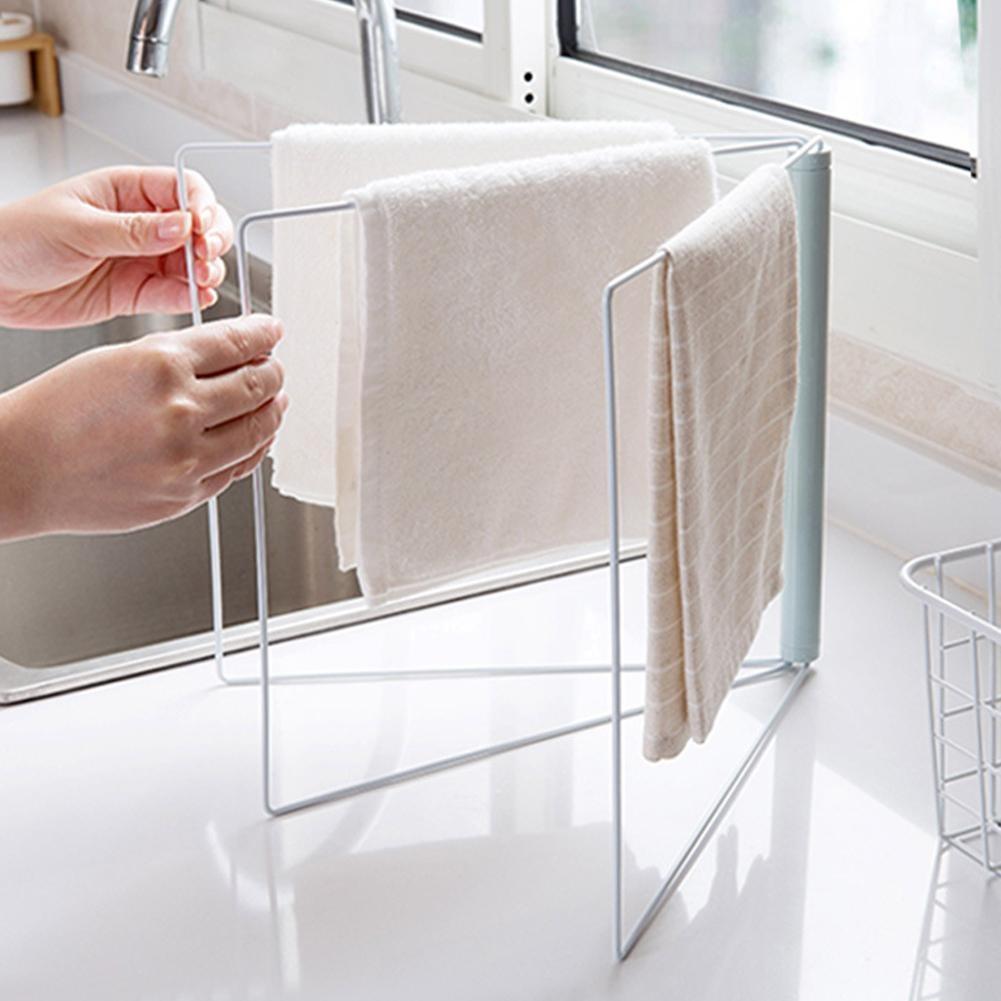 Folding Towel Rack Dish Cloth Storage Hanger Bathroom Kitchen Shelf Swivel Holder Organizer Hanging Bath Scouring Pad Bar Towels