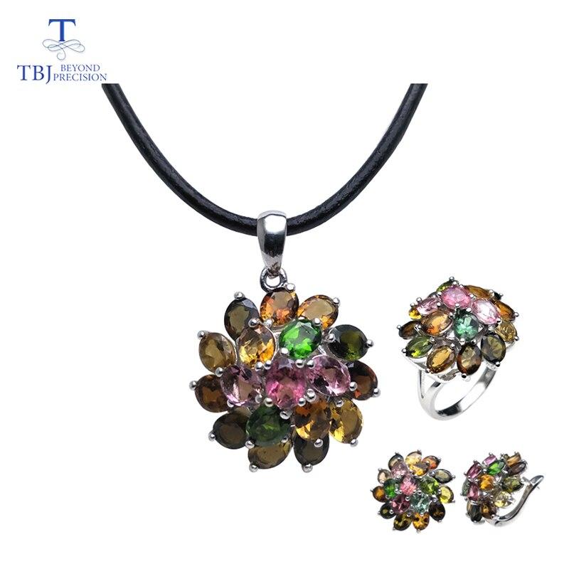 TBJ natural multicol tourmaline gemstone jewelry set in 925 silver classic design gemstone jewelry for women