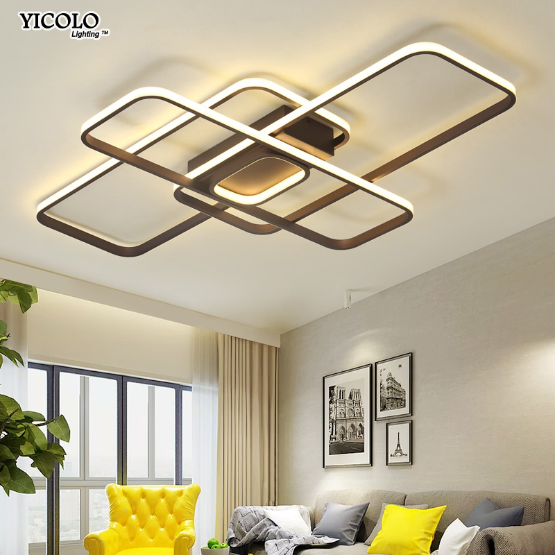 Lights & Lighting New Led Ceiling Light For Living Room Dining Bedroom Dimmable With Remote White Coffee Frame Lighting Fixture Lamparas De Techo Making Things Convenient For Customers