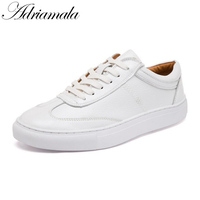 Adriamala Genuine Leather Women Loafers Shoes 2017 Students White Shoes Spring Round Toe Lace Up Leather