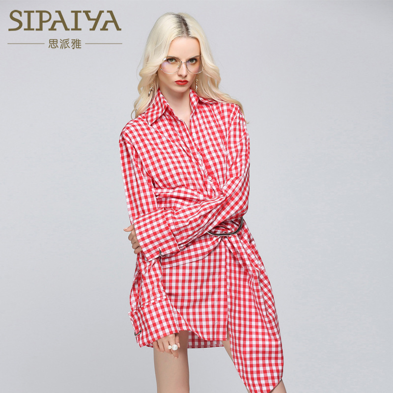 New Spring Plaid Long Sleeve Dress with Fashionable Irregular Shirt