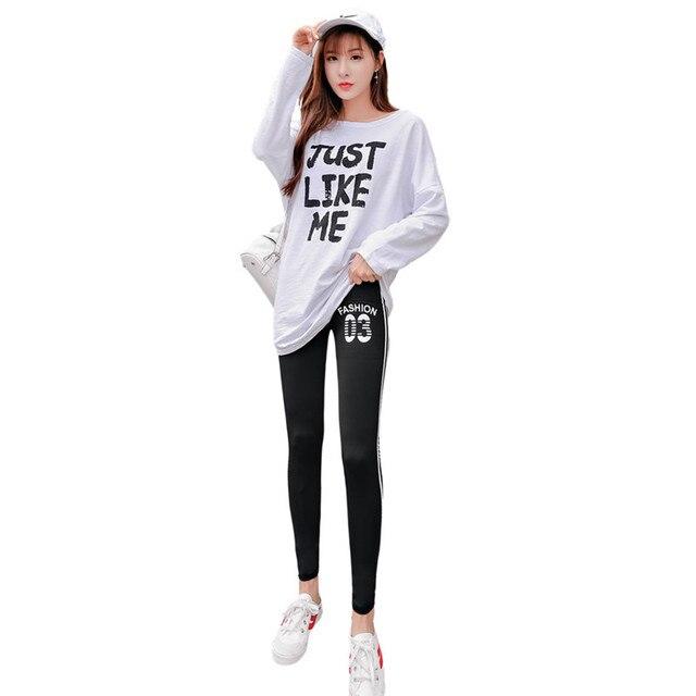 New Autumn Thin Stripe Casual Women Leggings Plus Size L-4XL Slim Elasticity Pants Legging Plump Female Clothing Trousers
