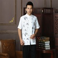 Discount White Chinese Men's Cotton Linen Kung Fu Shirt Top Novelty Embroidery Dragon Phoenix Tang Suit  Size S M L XL XXL XXXL