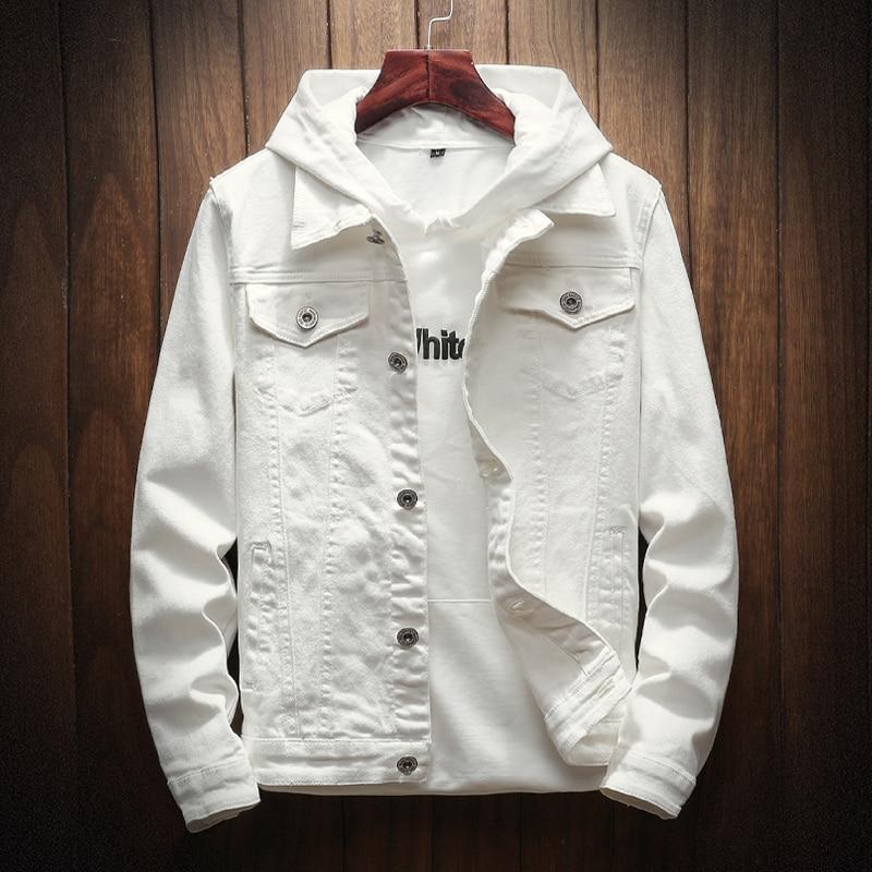 New Spring Autumn White Denim Jacket Cotton Students Cowboy Lovers Jean Coat Casual Jacket Men Fashion Streetwear Solid Wash