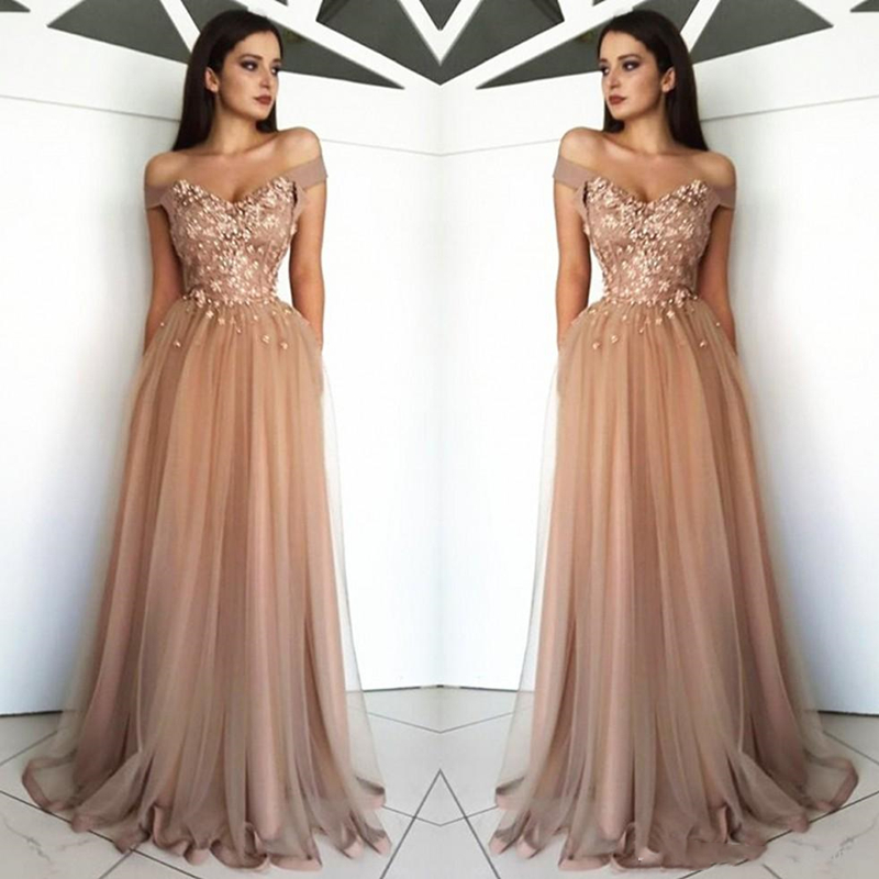 Arabic Off The Shoulder Tulle Long Evening Dresses 2019 Lace Applique Beaded Sweep Train Formal Party Prom Wear Dresses