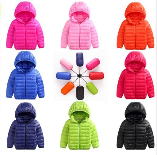 Flash Sale Ultralight Autumn Winter Kids Boys girls Jacket Outerwear Warm Hooded 90% white duck Down Jacket Children Cotton-Padded Jackets