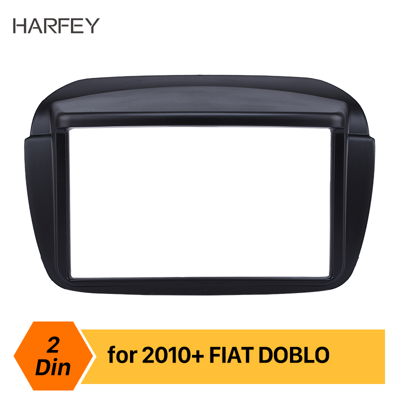 Harfey Black 2DIN Car Radio Fascia Panel Audio Fitting Adaptor Trim Kit Installation Dashboard Frame For