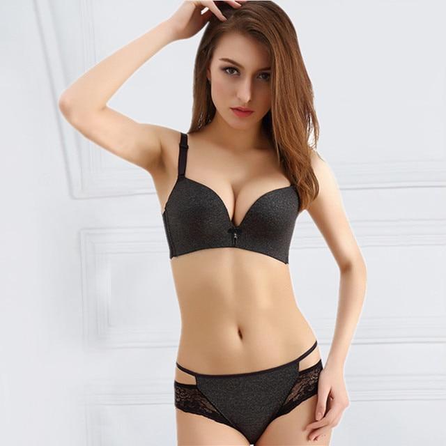 38dad284f325 Women Sexy Seamless Strapless Bra Push Up No Wire Bra Brief Sets Intimate  Temptation Triumph Brassiere Leopard Print Underwear