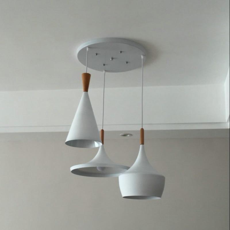 2018 nový moderní minimalistický hliník dřevo umění lustr bar kavárna restaurace dekorace lampa 3PCS / PACK