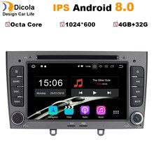 7 inch 1024*600 Octa Core Android 8.0 4G RAM 32GROM Multimedia Car dvd Player For Peugeot 308 408 with wifi radio GPS BT RDS(China)