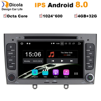 7 inch 1024*600 Octa Core Android 8.0 4G RAM 32GROM Multimedia Car dvd Player For Peugeot 308 408 with wifi radio GPS BT RDS