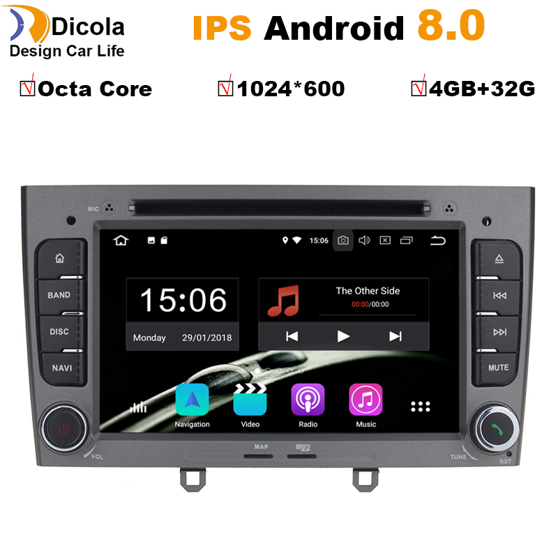 7 inch 1024*600 Octa Core <font><b>Android</b></font> <font><b>8.0</b></font> 4G RAM 32GROM Multimedia Car dvd Player For <font><b>Peugeot</b></font> <font><b>308</b></font> 408 with wifi radio GPS BT RDS image