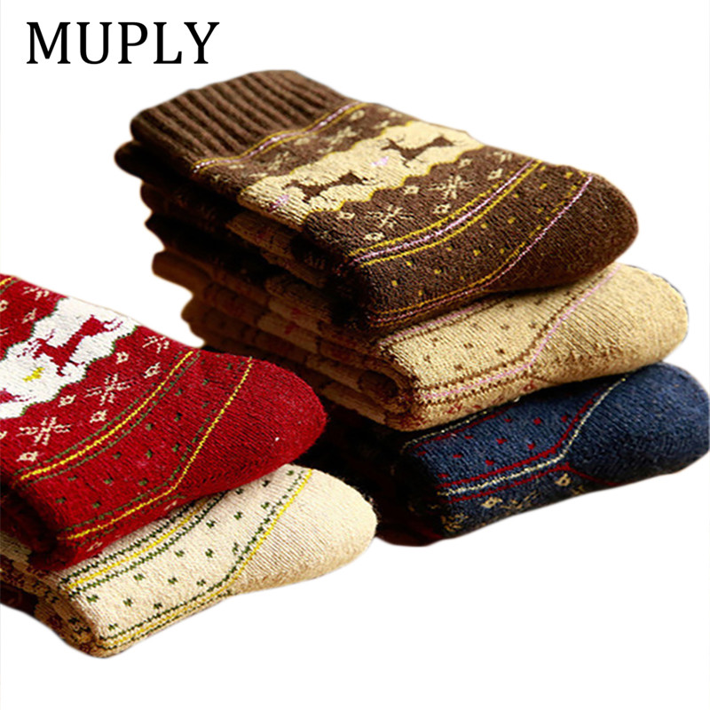 Winter Socks Women Woolen Christmas YearS Socks Funny Cashmere 5Pairs//Lot