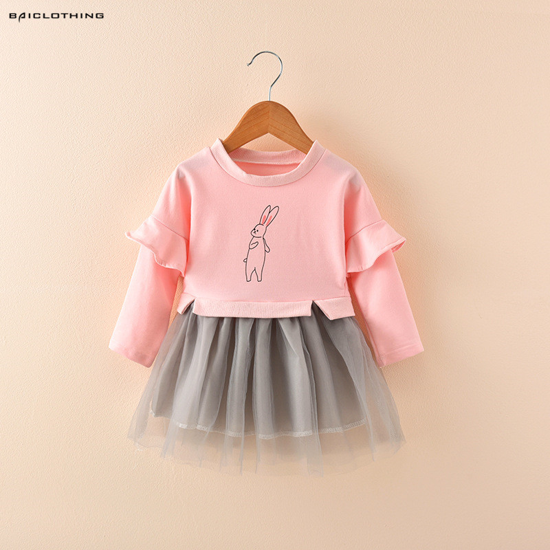 2017 New Arrival Baby Girls Long Sleeve Dress Children Gauze Dress Caroon Bunny Kids Autumn Patch Clothing Hot Sale free shipping new arrival children s clothing child one piece dress twinset winter dress good quality coat dress