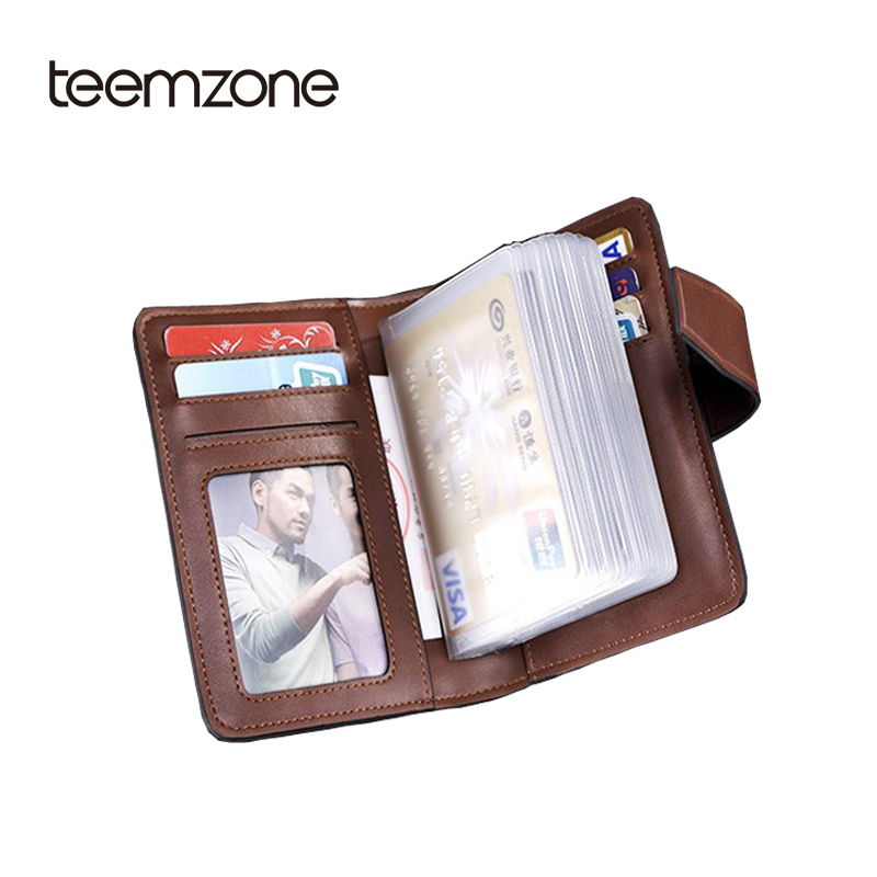 Teemzone mens genuine leather wallet business credit card for Mens business card case
