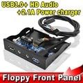 "T Interno 3.5 ""Floppy Bay Painel Frontal Suporte USB 3.0 Hub & 2.1A Potência de Saída do Carregador, HD + Áudio Mic Conector de Interface"