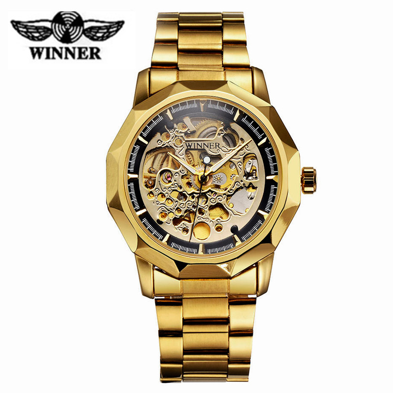 T-WINNER Golden Automatic Mechanical Wrist Watch Men Classical Noble Skeleton Dial Watches Stainless Steel Luxury Brand Clock ik brand luxury automatic mechanical watches men sub dial function date 24 hours display genuine leather skeleton watch relojes