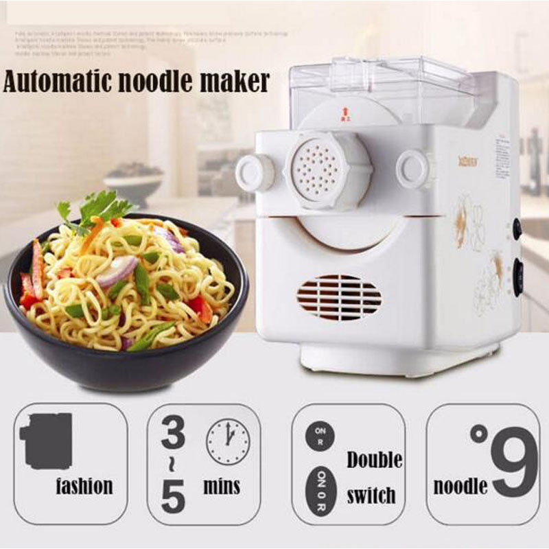 DIY Household Pasta Machine Small Fully-Automatic Electric Noodle Maker in White Color MTJ138A 1pc household mini pasta machine manual metal spaetzle makers pressing machine pole head mingled split noodle tools