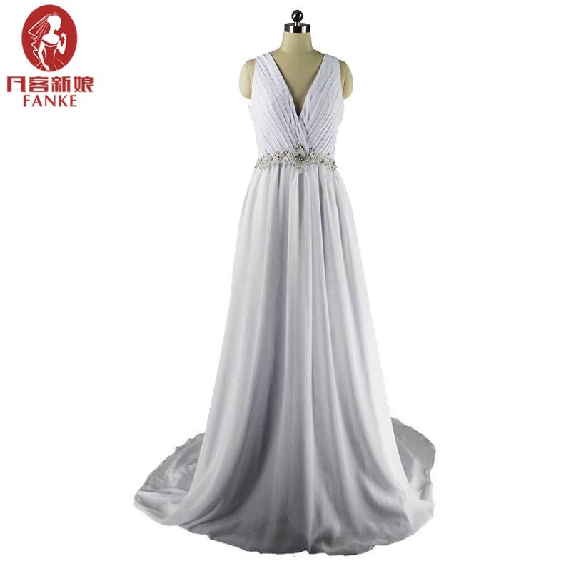 Sexy beach boho wedding dresses 2017 a line deep v neck for Chinese website for wedding dresses