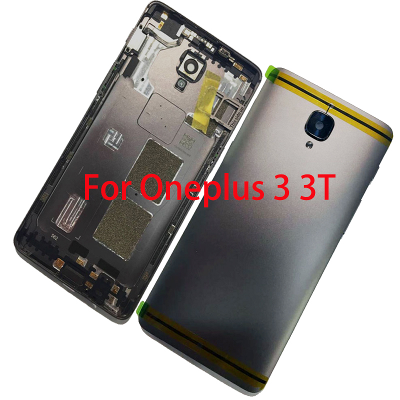BINYEAE Metal Battery Cover For Oneplus 3 3T Rear Housing Back Case With Camera Lens+SIM Card Tray+Side Keys+Logo