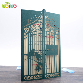 50pc  Laser Cut Wedding Invitations Card blackish green Luxurious Personalised Laser Cut Names Elegant gate Love Bird Designs